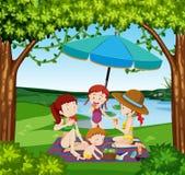 Пикник людей на озере иллюстрация вектора