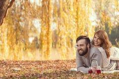 Пикник на упаденных листьях Стоковые Изображения