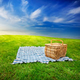 пикник одеяла корзины Стоковые Фотографии RF