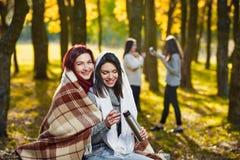 пикник парка outdoors большой семьи осени счастливый Стоковые Фото