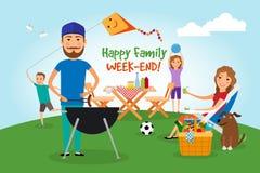 Пикник семьи Партия BBQ Стоковое Изображение