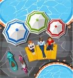 Пикник людей бассейном иллюстрация штока