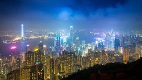 Пиковый город Гонконга в тумане Стоковая Фотография RF