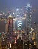 Пиковый город Гонконга в тумане Стоковые Фотографии RF
