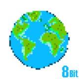 Пиксел дня земли земля принципиальной схемы изолированная за исключением белизны Стоковая Фотография