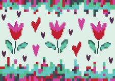 Пиксел тюльпана весны влюбленности иллюстрация штока