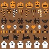 Пиксел хеллоуина праздничный безшовный установленный в вектор Стоковые Фото