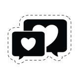 пиктограмма сообщения влюбленности сердца speechs пузыря Стоковые Изображения