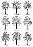 Пиктограммы деревьев черные Стоковые Фото