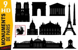 Пиктограммы номерного знака 2 парижских памятников с Эйфелева башней, оперой или Нотр-Дам иллюстрация вектора