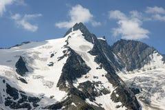 Пик горы Grossglocker с снегом в временени Стоковое Фото