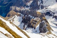 Пик горы Saentis и Lisengrat со снегом стоковая фотография rf