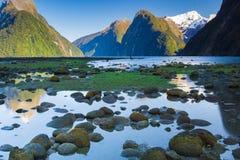 пик парка митры milford fiordland национальный новый звучает zealand стоковая фотография rf