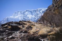 Пик Annapurna и пропуск в горы Гималаев, зона Annapurna, Непал Стоковое Изображение RF