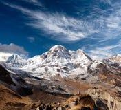 Пик Annapurna южный - взгляд от базового лагеря Annapurna, Непала Стоковое Фото