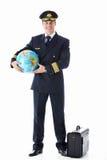 Пилот глобуса и чемодана Стоковые Фотографии RF