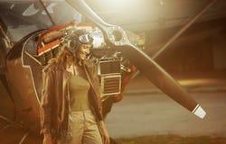 Пилот самолета сбора винограда Стоковое фото RF