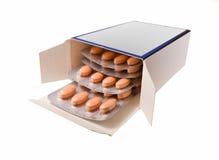 пилюльки изолированные коробкой белые Стоковое Изображение RF