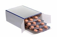 пилюльки изолированные коробкой померанцовые белые Стоковые Изображения RF