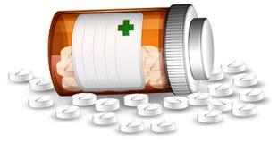 Пилюльки контейнера и medicene иллюстрация штока