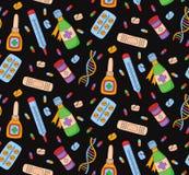 Пилюльки медицины doodle безшовная картина вектора Стоковое фото RF