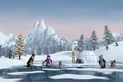 Пингвины в снежном ландшафте горы рождества, 3d представляют Стоковое Изображение