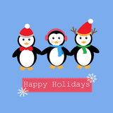 Пингвины и знамя на счастливый праздник иллюстрация вектора