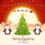 Пингвины и рождественская елка на красной предпосылке бесплатная иллюстрация