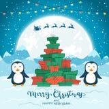Пингвины и рождественская елка от подарков на голубой предпосылке иллюстрация штока