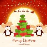 Пингвины и рождественская елка от подарков на красной предпосылке иллюстрация штока