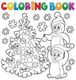 Пингвины книжка-раскраски рождественской елкой иллюстрация штока