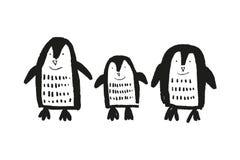 Пингвины милой руки питомника вычерченные маленькие, печать младенца животная бесплатная иллюстрация