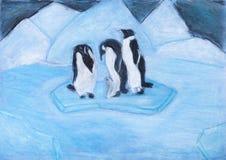 Пингвины на ледяном поле в холодной голубой ноче Стоковые Фото