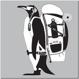 Penguin with backpack royalty free illustration