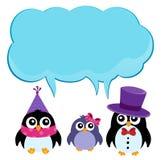 Пингвины партии с темой 2 copyspace Стоковое Фото
