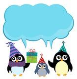 Пингвины партии с темой 3 copyspace Стоковая Фотография RF