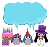 Пингвины партии с темой 1 copyspace Стоковые Изображения