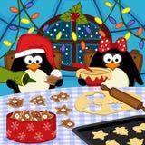 Пингвины пекут печенья рождества иллюстрация вектора