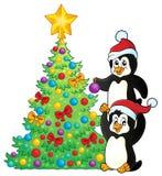 Пингвины приближают к теме 2 рождественской елки бесплатная иллюстрация