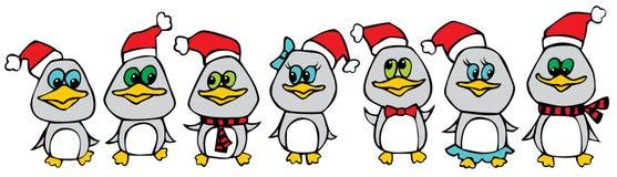 пингвины рождества смешные Стоковая Фотография
