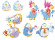 Пингвины, семья, талисман, северный полюс, морские животные Стоковое Изображение