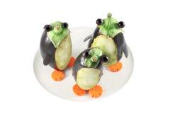 Пингвины сделанные от aubergines Стоковое Изображение RF