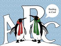 Пингвины с ABC: Чтение холодно стоковые изображения