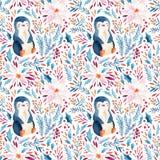 Пингвин акварели ребяческий и богато украшенные цветки, падуб, семена, венок хворостин ели иллюстрация вектора