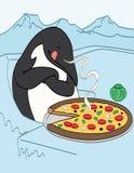 Пингвин есть пиццу иллюстрация вектора
