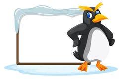 Пингвин и пустая доска иллюстрация штока