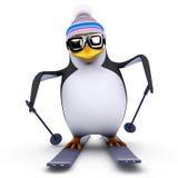 пингвин катания на лыжах 3d Стоковая Фотография