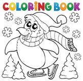 Пингвин книжка-раскраски счастливый катаясь на коньках Стоковые Фото