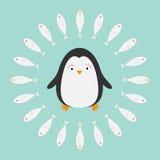 Пингвин Милый персонаж из мультфильма Рамка рыб круглая Ледовитое животное собрание Птица младенца Плоский дизайн Стоковое фото RF