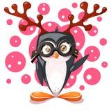 Пингвин, олень - характеры мультфильма смешные иллюстрация вектора